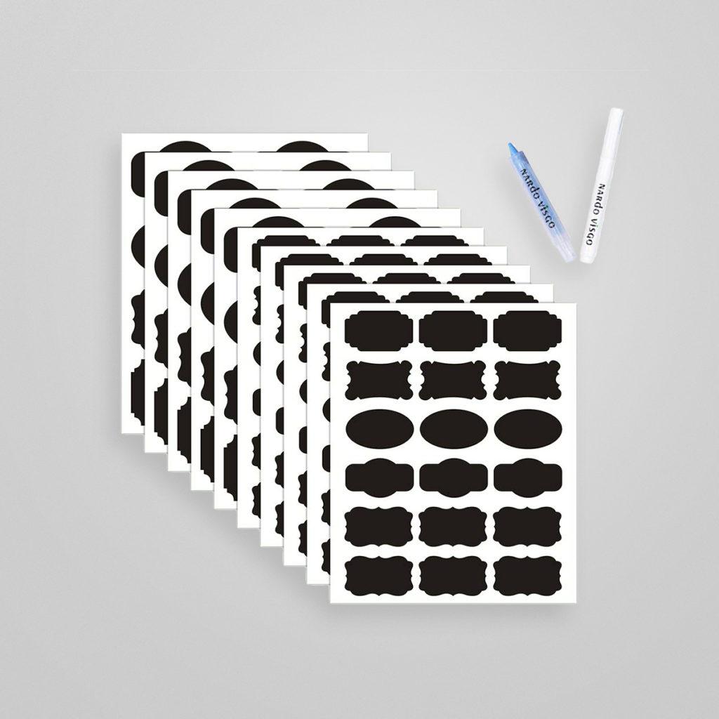 Tafel-Aufkleber mit abwischbaren Kreidemarker zum Etikettieren von Gläser. Details & Bestellung