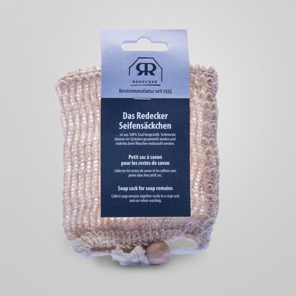 Seifensäckchen Seifenreste im Säckchen sammeln und mühelos beim Waschen verbrauchen. Besser kann man Seifenreste nicht verwerten. Aus 100% Sisal hergestellt von der  Bürstenmanufaktur Redecker.  Detail & Bestellung