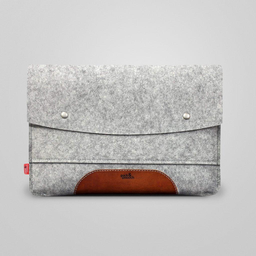 Laptop-Tasche von Pack & Smooch, 100% Merino Wollfilz, pflanzlich gegerbtes Leder - ein absoluter Hingucker und verlässlicher Begleiter. Handmade in Germany.  Details & Bestellung