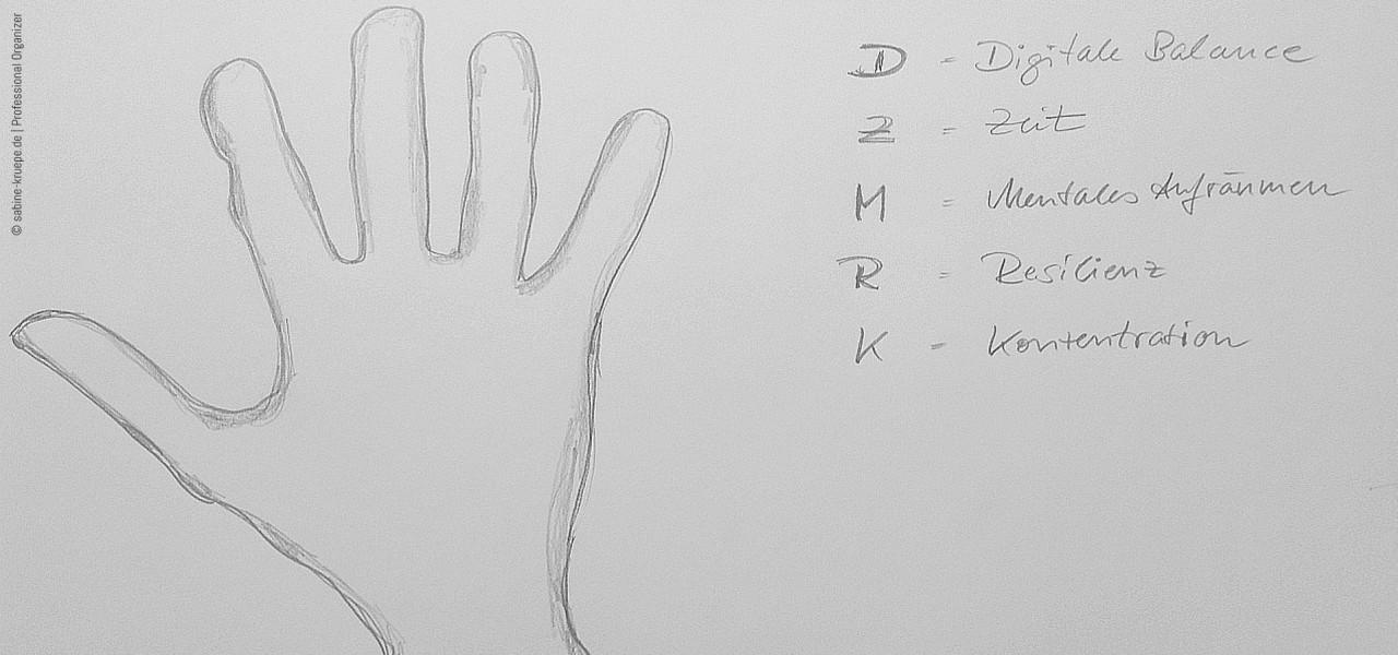 Professional Organizing: Handzeichen - Fünf Finger und was sie uns fragen
